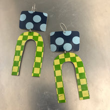 Load image into Gallery viewer, Big Blue Dots Green Checkerboard Zero Waste Tin Earrings