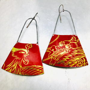 Firebird and Dragon on Red Recycled Tin Earrings