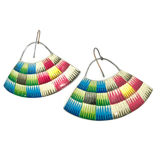 Multicolor Basket Pattern Recycled Tin Earrings