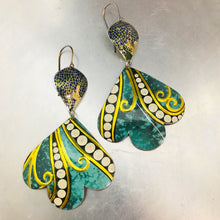 Load image into Gallery viewer, Green & Golden Filigree Trefoil Zero Waste Tin Earrings 30th Birthday Gift