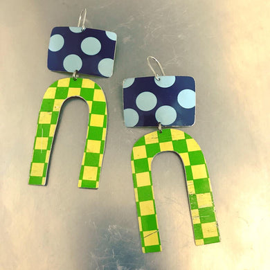Big Blue Dots Green Checkerboard Zero Waste Tin Earrings