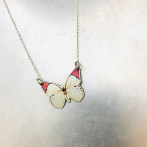 Tiny White Butterfly Upcycled Tin Necklace Tin Anniversary Gift