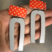 Load image into Gallery viewer, Orange Polka Dots & White Horseshoe Tin Earrings