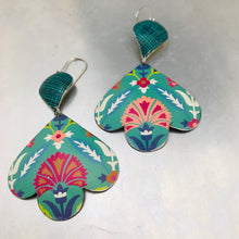 Load image into Gallery viewer, Mixed Teals Trefoil Upcyled Tin Earrings