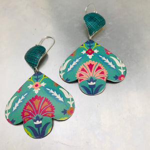 Mixed Teals Trefoil Upcyled Tin Earrings
