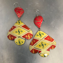 Load image into Gallery viewer, Vintage Red & Yellow Trefoil Upcyled Tin Earrings