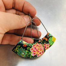 Load image into Gallery viewer, Asian Tea Tin Flowers Large Fan Recycled Tin Earrings
