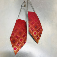 Load image into Gallery viewer, Geometric Deep Raspberry Recycled Tin Earrings