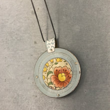 Load image into Gallery viewer, Reversible Upcycled Tin Collage Necklace by ChristineTerrell for adaptive reuse jewelry