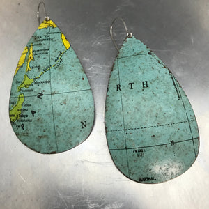 Japan and North Sea Vintage Globe Upcycled Large Teardrop Tin Earrings