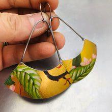 Load image into Gallery viewer, Green Leaves on Gold Large Fan Recycled Tin Earrings