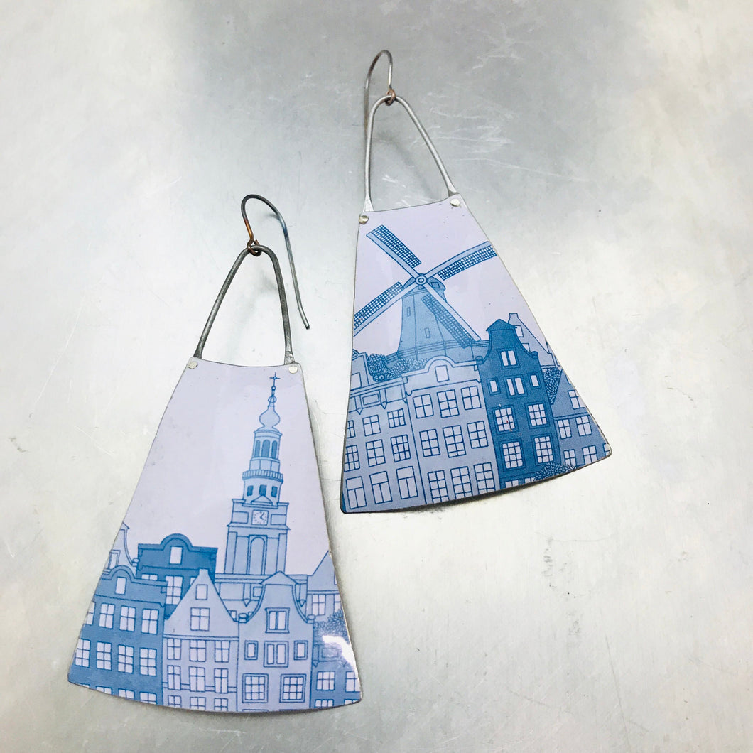 Blue Windmill on White Upcycled Tin Earrings