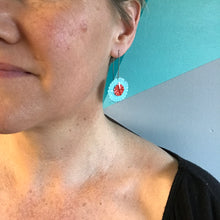Load image into Gallery viewer, Bright Red & Aqua Ruffled Discs Tin Earrings