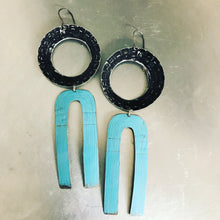 Load image into Gallery viewer, Bright Blue & Midnight Os Upcycled Tin Earrings