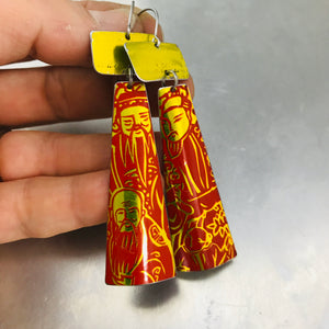 Shimmery Red & Yellow Tea Tin Zero Waste Earrings Ethical Jewelry