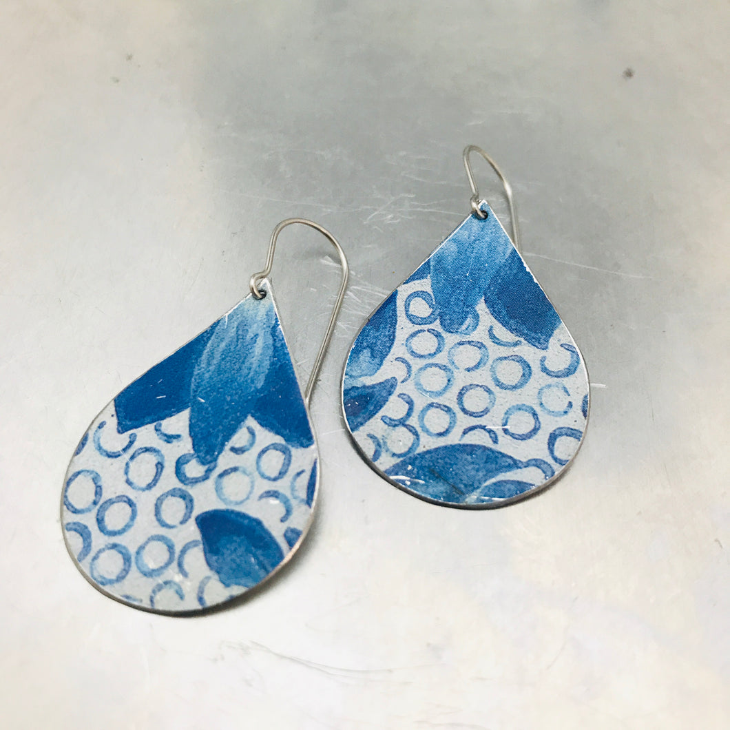 Blue Dots Upcycled Teardrop Tin Earrings