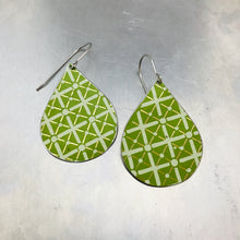 Load image into Gallery viewer, Green Lattice Pattern Upcycled Teardrop Tin Earrings