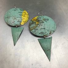 Load image into Gallery viewer, Argentina & Tierra del Fuego Oval Vintage Globe Upcycled Tin Earrings