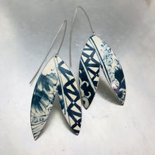Load image into Gallery viewer, Blue and White Patterned Double Leaf Upcycled Tin Earrings