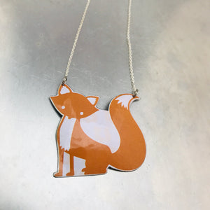 Orange Fox Zero Waste Tin Necklace