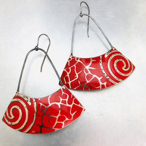 Scarlet Silver Swirled Upcycled Tin Earrings by Christine Terrell for adaptive reuse jewelry
