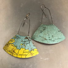 Load image into Gallery viewer, Arctic Circle & Islands Vintage Globe Upcycled Fan Tin Earrings