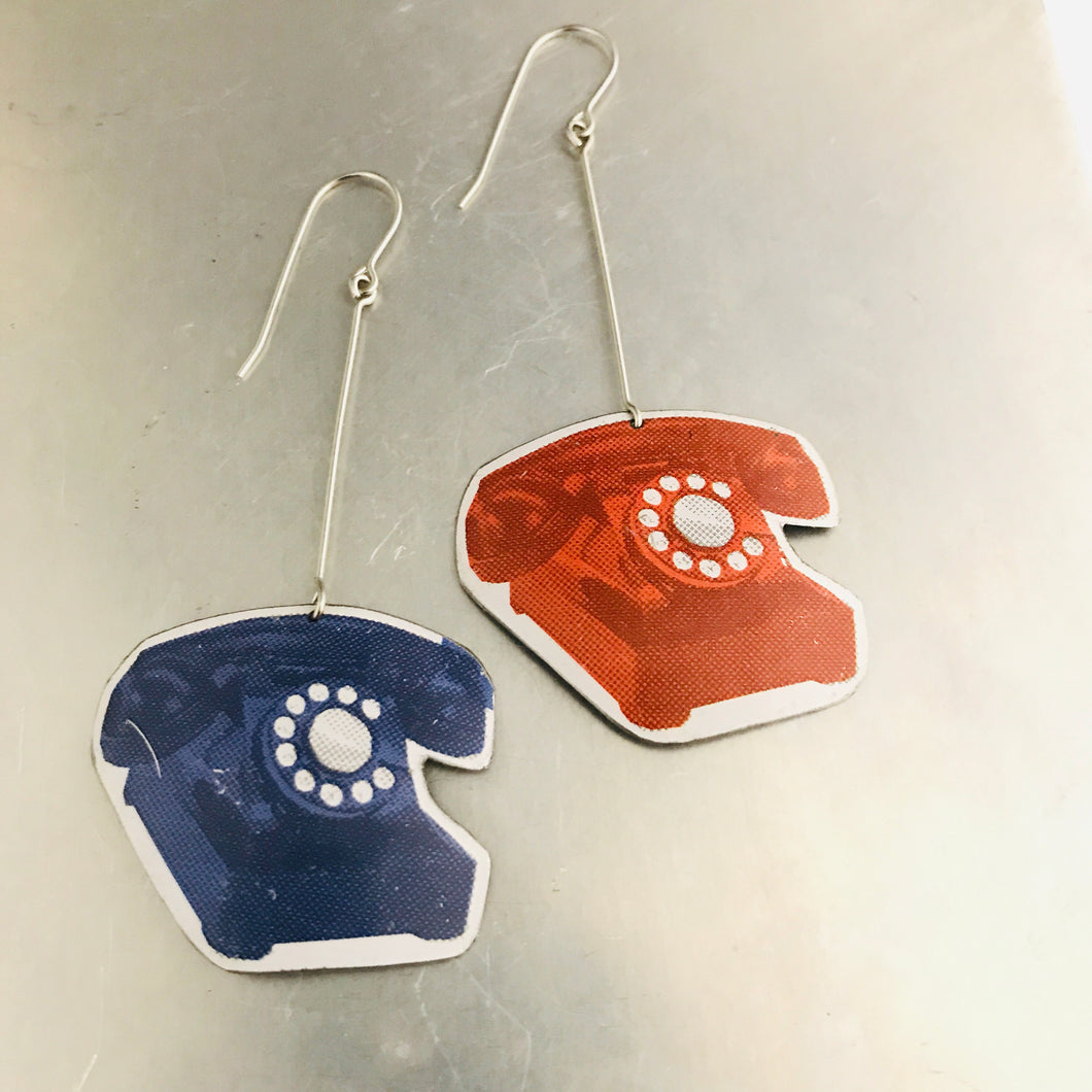 Red & Blue Retro Phones Upcycled Tin Earrings