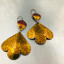 Load image into Gallery viewer, Shimmery Gold & Burgundy Trefoil Upcyled Tin Earrings