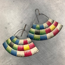 Load image into Gallery viewer, Multicolor Basket Pattern Recycled Tin Earrings