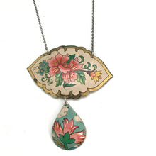 Load image into Gallery viewer, Vintage Pink Flowers Upcycled Tin Necklace
