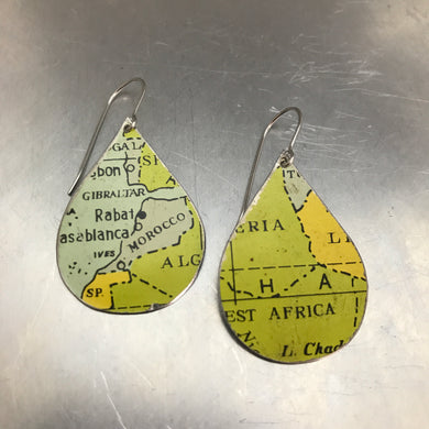 Africa Vintage Map Upcycled Teardrop Tin Earrings