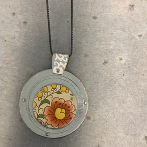 Reversible Upcycled Tin Collage Necklace by ChristineTerrell for adaptive reuse jewelry
