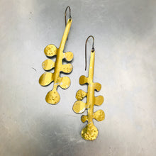 Load image into Gallery viewer, Shimmery Gold Matisse Leaves Upcyled Tin Earrings
