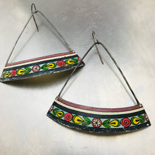 Load image into Gallery viewer, Vintage Brazilian Pattern Wide Arc Zero Waste Tin Earrings