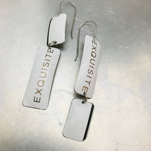Exquisite Narrow Rectangle Zero Waste Tin Earrings