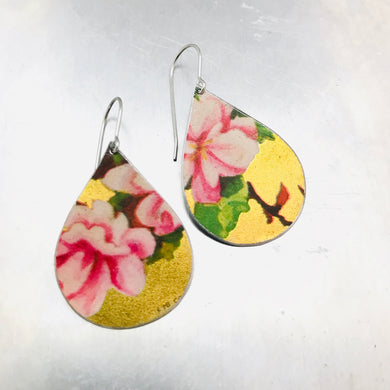 Pink Peonies on Gold Upcycled Teardrop Tin Earrings