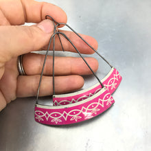 Load image into Gallery viewer, Magenta Wide Arc Zero Waste Tin Earrings