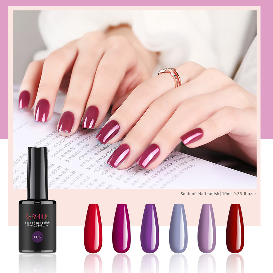 Red Series Gel Nail Polish Kit, Soak Off UV LED Gel Polish Set (Ship to America, United Kingdom Only)