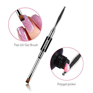 Gershion Poly Gel Brush Set, Dual-Ended Acrylic Nail Brushes Set