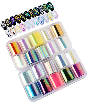Gershion Glass Pattern Nail Art Foil Stickers 20 Color