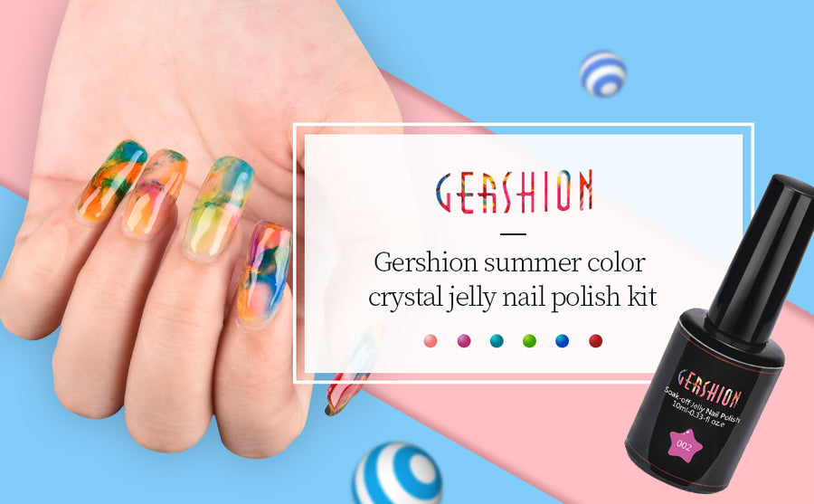Gershion Crystal Rainbow Jelly 10ml 6 Colors UV LED Gel Polish (Ship to America Only)