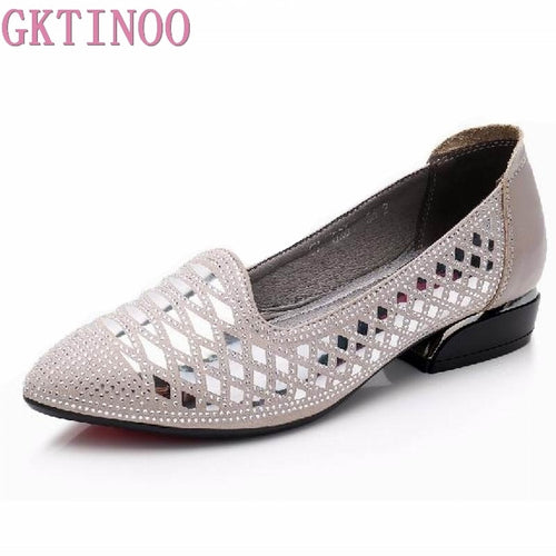 30ce8bfd7860 GKTINOO Pointed Toe Bling Pumps Women Shoes Genuine Leather Comfortable  High Heels Elegant Slip On Shoes