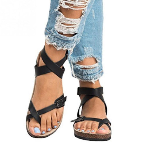 bed2681c32c49 Fashion Sandals 2018 New Women Casual Summer Beach Gladiator Sandals  Gladiator Buckle Strap Flat Shoes