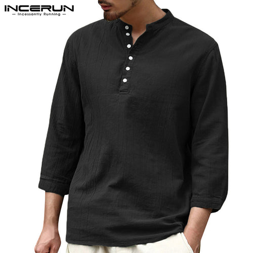 00e75b68605 Streetwear Mens T Shirts Long Sleeve Henley Shirts Loose Fit V-Neck 3 4