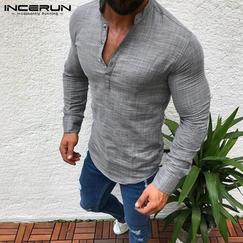 e010687131f Casual Muscle Tee Mens Shirts Dress Long Sleeve Tee Tops Autumn Solid Sexy V  Neck Hombre