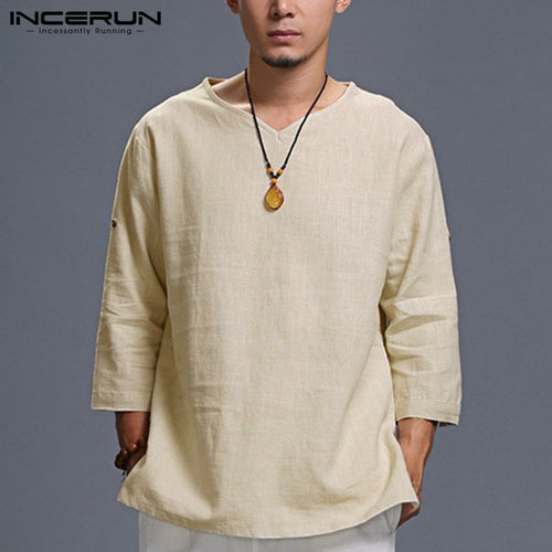 f6a949a1cec Stylish Men Clothing Three Quarter Sleeve Mens Shirts Cotton V Neck Plain  Chinese Style Tee Shirt