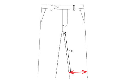 unis new york pants knee measurement