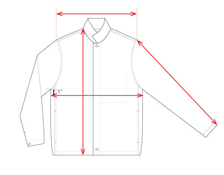 unis oliver measuring guide outerwear jacket
