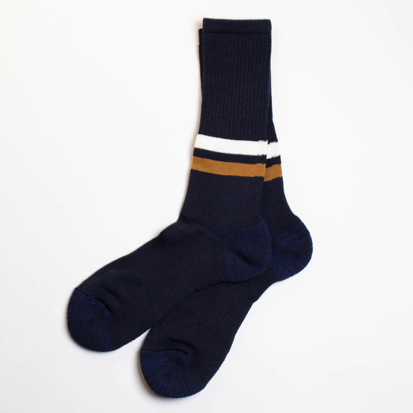 Ankle Line Crew Socks - Navy/White