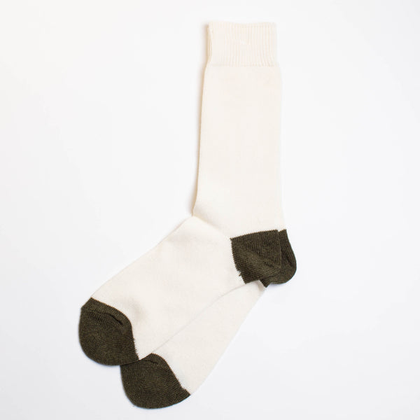 Wool Cashmere Two Point Crew Socks - Off White